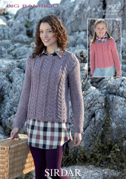 Cable Knit Sweater in Sirdar Big Bamboo