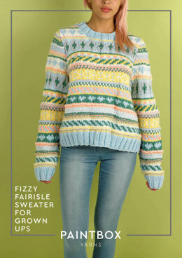 """Fizzy Fairisle Sweater for Grown Ups"" - Free Sweater Knitting Pattern For Women in Paintbox Yarns Wool Mix Chunky-4"