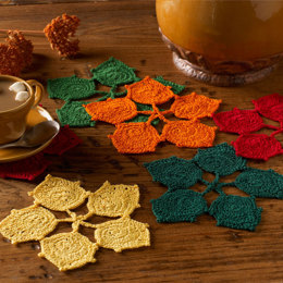 Dancing Leaves Coasters in Aunt Lydia's Classic Crochet Thread Size 10 Solids - LC3430