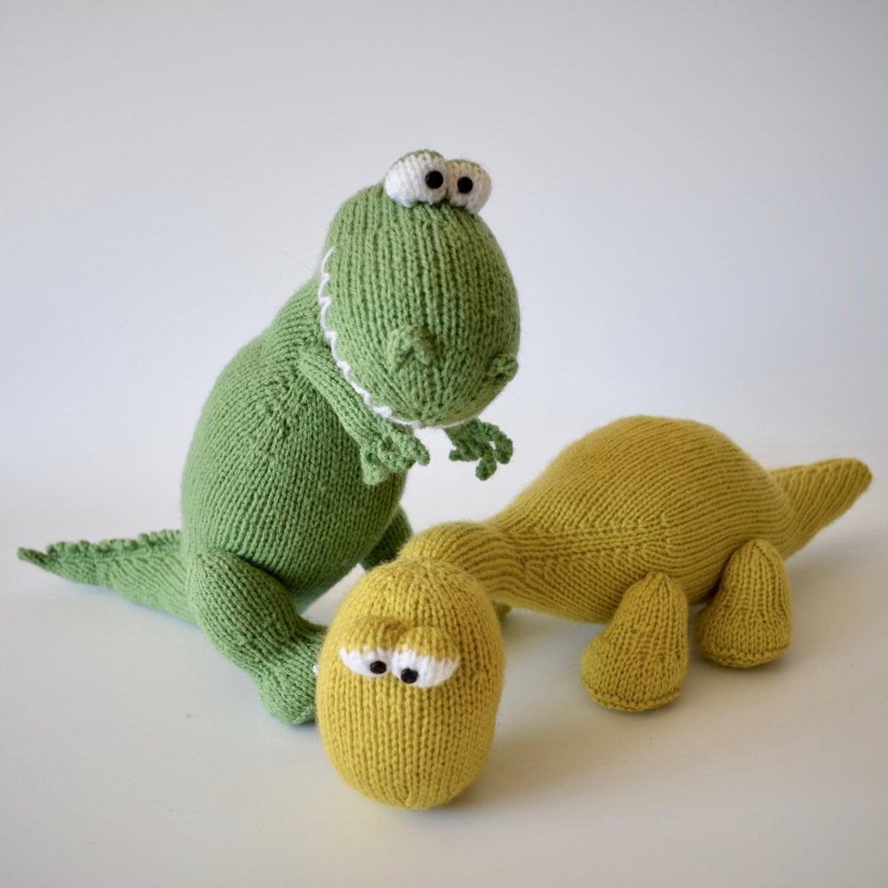 Trex and Bronty Dinosaurs Knitting pattern by Amanda Berry