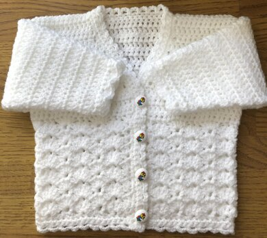 Thistle Flower Panel Crochet Cardigan Pattern for Baby or Child