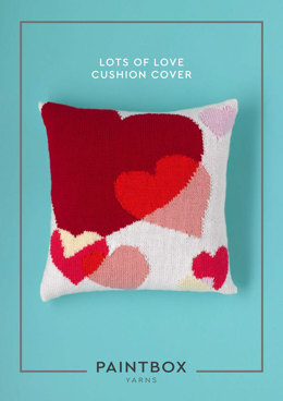"""Lots of Love Cushion Cover"" - Cushion Knitting Pattern For Home in Paintbox Yarns Simply DK"