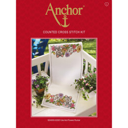 Anchor Cats and Flowers Runner Cross Stitch Kit