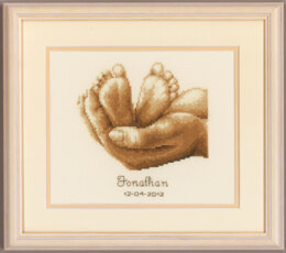 Vervaco Tiny Feet Birth Sampler Cross Stitch Kit - 19cm x 16cm