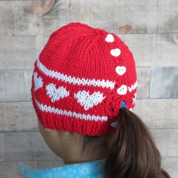Valentine Hearts Ponytail hat for Girls