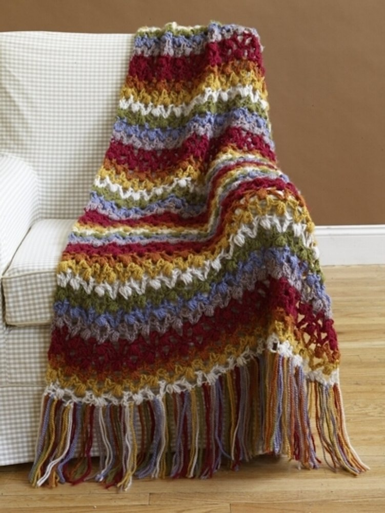 Lacy Throw In Lion Brand Jiffy 70487ad Knitting