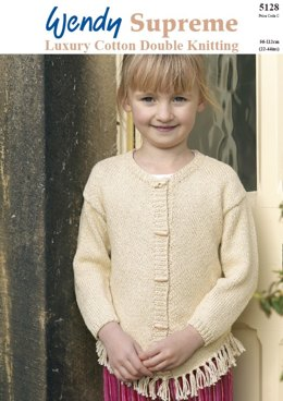 Chevron Plain Sweater and Cardigan in Wendy Pearl Cotton DK - 5128