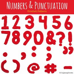 Numbers & Punctuation Crochet Motifs Pattern