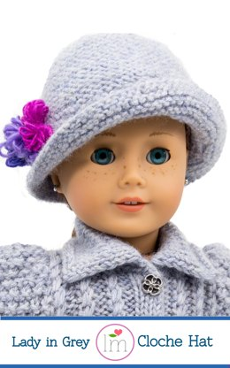 Lady in Grey Cloche Hat for 18 inch dolls. Doll Clothes knitting pattern.
