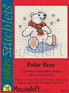 Mouseloft Christmas Card Stitchlet - Polar Bear Cross Stitch Kit