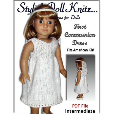First Communion Dress, Fits American Girl Doll 107