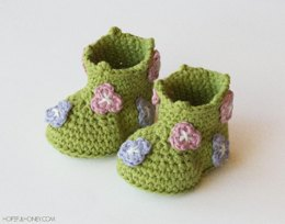 Field Of Flowers Baby Booties