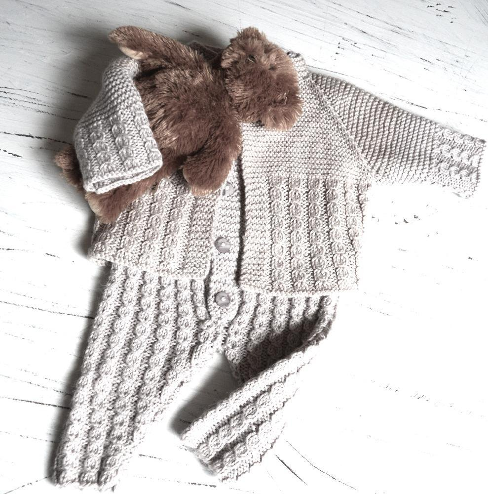 Baby onesie, with matching jacket, knitted top down ...