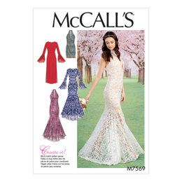 McCall's Misses' Column and Mermaid-Style Dresses with Bodice and Sleeve Variations M7569 - Sewing Pattern
