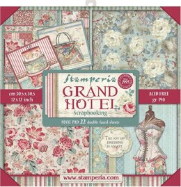 """Stamperia Intl Stamperia Double-Sided Paper Pad 12""""X12"""" 22/Pkg - Grand Hotel, 22 Designs/1 Each"""