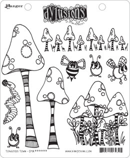 """Ranger Dyan Reaveley's Dylusions Cling Stamp Collections 8.5""""X7"""" - Toadstool Town"""