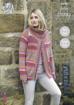 Ladies Sweater Jackets in King Cole Drifter Chunky - 4598 - Downloadable PDF