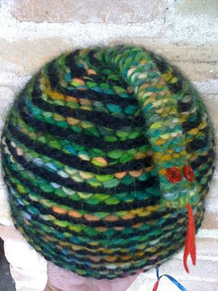 Snake Cushion Knitting Pattern : Snake on My Head! Knitting pattern by Elizabeth Green Musselman Knitting Pa...