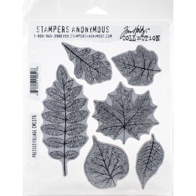 """Stampers Anonymous Tim Holtz Cling Stamps 7""""X8.5"""" - Pressed Foliage"""