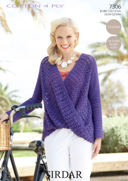Women's Top in Sirdar Cotton 4 Ply - 7306 - Downloadable PDF