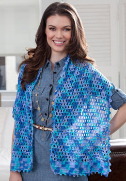 Stars Over the Sea Shawl in Red Heart Luster Sheen Multi - LW2783 - Downloadable PDF