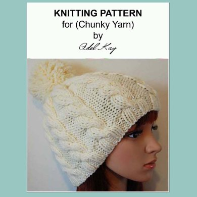 Andrea Chunky Yarn Unisex Bobble Beanie Hat Knitting Pattern Child Teen Adult by Adel Kay