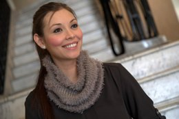 Striped Cowl in Plymouth Yarn Arequipa Worsted & Fur - F626 - Downloadable PDF