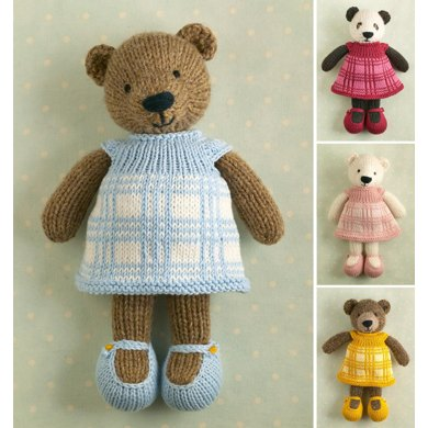 Girl Bear In A Plaid Dress Knitting Pattern By Julie Williams