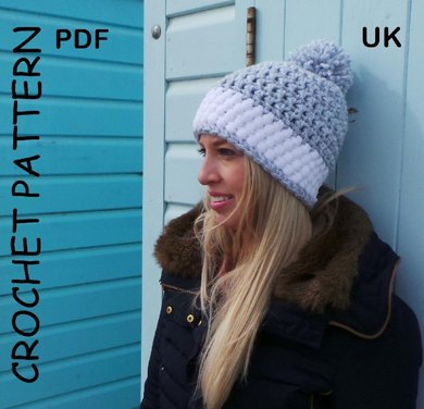 Crochet hat pattern Nordic Snow Hat UK