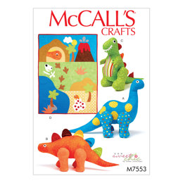 McCall's Dinosaur Plush Toys and Appliquéd Quilt M7553 - Sewing Pattern