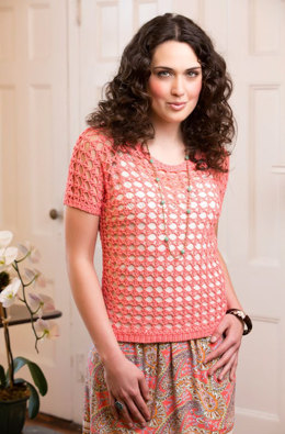 Delicate Coral Tee in Aunt Lydia's Fashion Crochet Thread Size 3 - LC3719 - Downloadable PDF