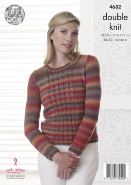 Sweater & Edge to Edge Jacket in King Cole Riot DK - 4682 - Downloadable PDF