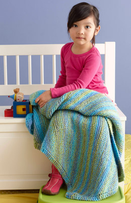 Soft, Easy Baby Throw in Lion Brand Tweed Stripes - L0689