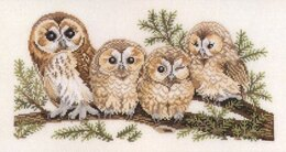 Eva Rosenstand Owl Family, Aida Fabric Cross Stitch Kit - 50cm x 30cm