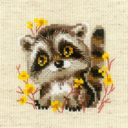 Riolis Little Racoon Cross Stitch Kit - 13cm x 13cm