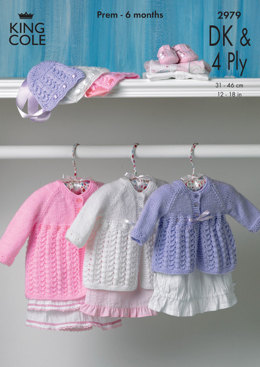 Matinee Coat and King Cole Big Value Baby DK & Big Value Baby 4 Ply - 2979