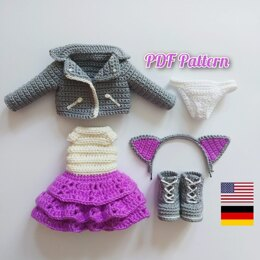 Crochet doll clothes pattern, Outfit for Astrid, Amigurumi doll outfits pattern for a doll 30 cm (11,8 inch) (ENGLISCH only)