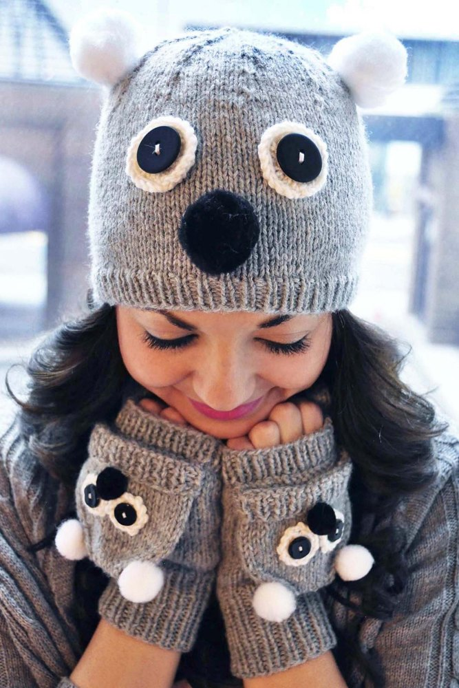 Care To Cuddle Koala And Owl Animal Hat And Fingerless