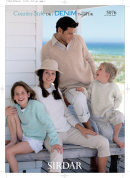 Round Neck and V Neck Sweaters in Sirdar Country Style DK and Denim Tweed DK - 5076