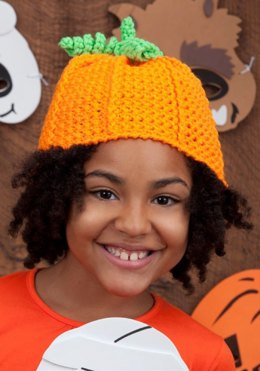 Crochet Pumpkin Hat in Red Heart Super Saver Economy Solids - LW2830
