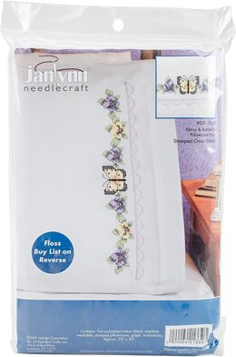 Janlynn Pansy and Bbutterfly Pillowcase Pair Cross Stitch Kit (THREADS NOT INCLUDED)