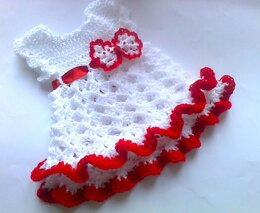 Red bow ruffled dress