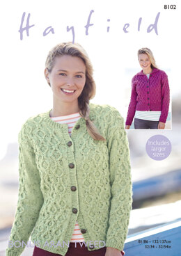 Cardigans in Hayfield Bonus Aran Tweed - 8102 - Downloadable PDF