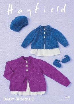 Cardigans, Beret and Shoes in Hayfield Baby Sparkle DK - 4659