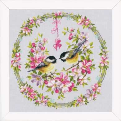 Vervaco Great Tits in a Flower Wreath Cross Stitch Kit - 40 x 40cm