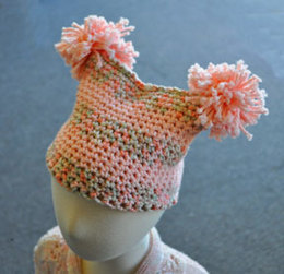 Pom-Pom Baby Hat in Crystal Palace Yarns Cotton Twirl Solids