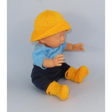 Baby Pull On Boots and Souwester Hat