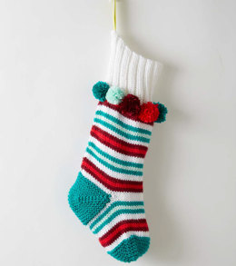 Stripe the Halls Stocking in Caron Simply Soft - Downloadable PDF