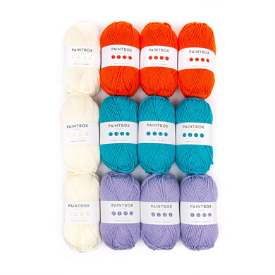 Fizzy Flower Cushion Colourful Home Collection - Paintbox Yarns Simply Chunky 12 Ball Colour Pack