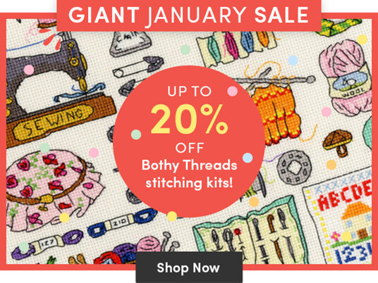 Up to 20 percent off Bothy Threads stitching kits!